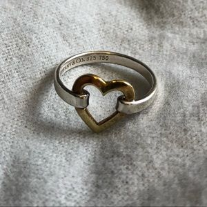 Authentic Tiffany & Co two tone heart ring